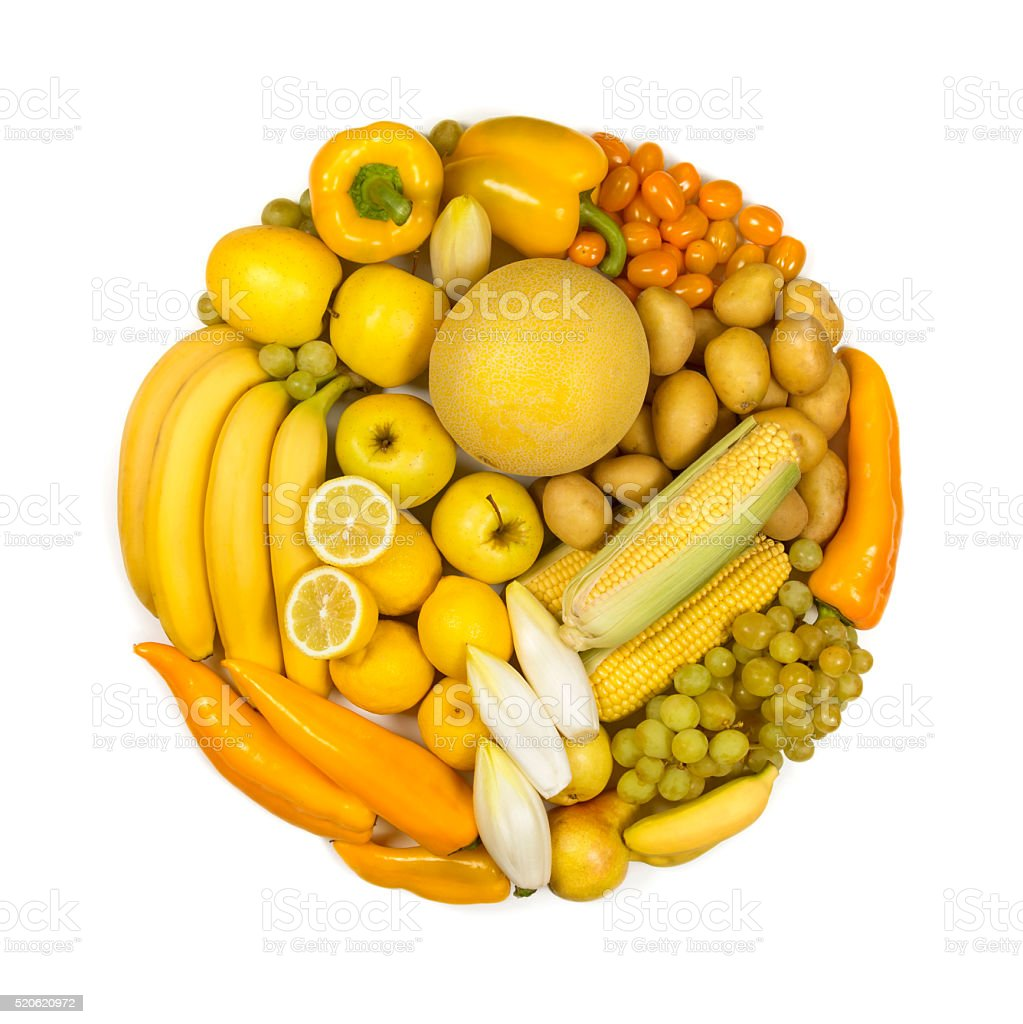 Circle Of Yellow Fruits And Vegetables Stock Photo & More ...