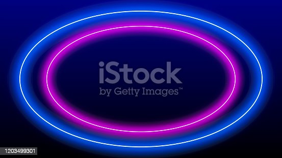 Circle oval ellipse neon light frame with copy space. Futuristic 3D blue pink laser light frame stage background