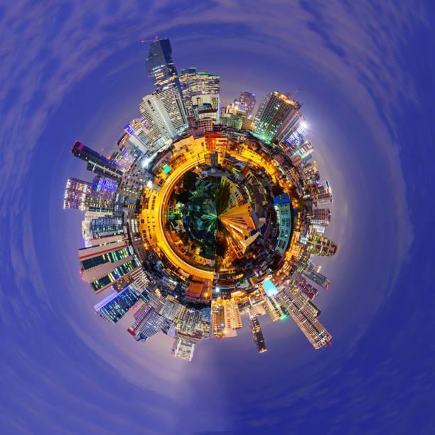 circle panorama of city stock photo