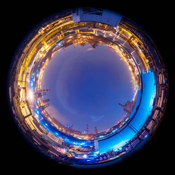 circle panorama of modern factory skyline, such as if they were taken with a fish-eye lens - objetiva olho de peixe imagens e fotografias de stock