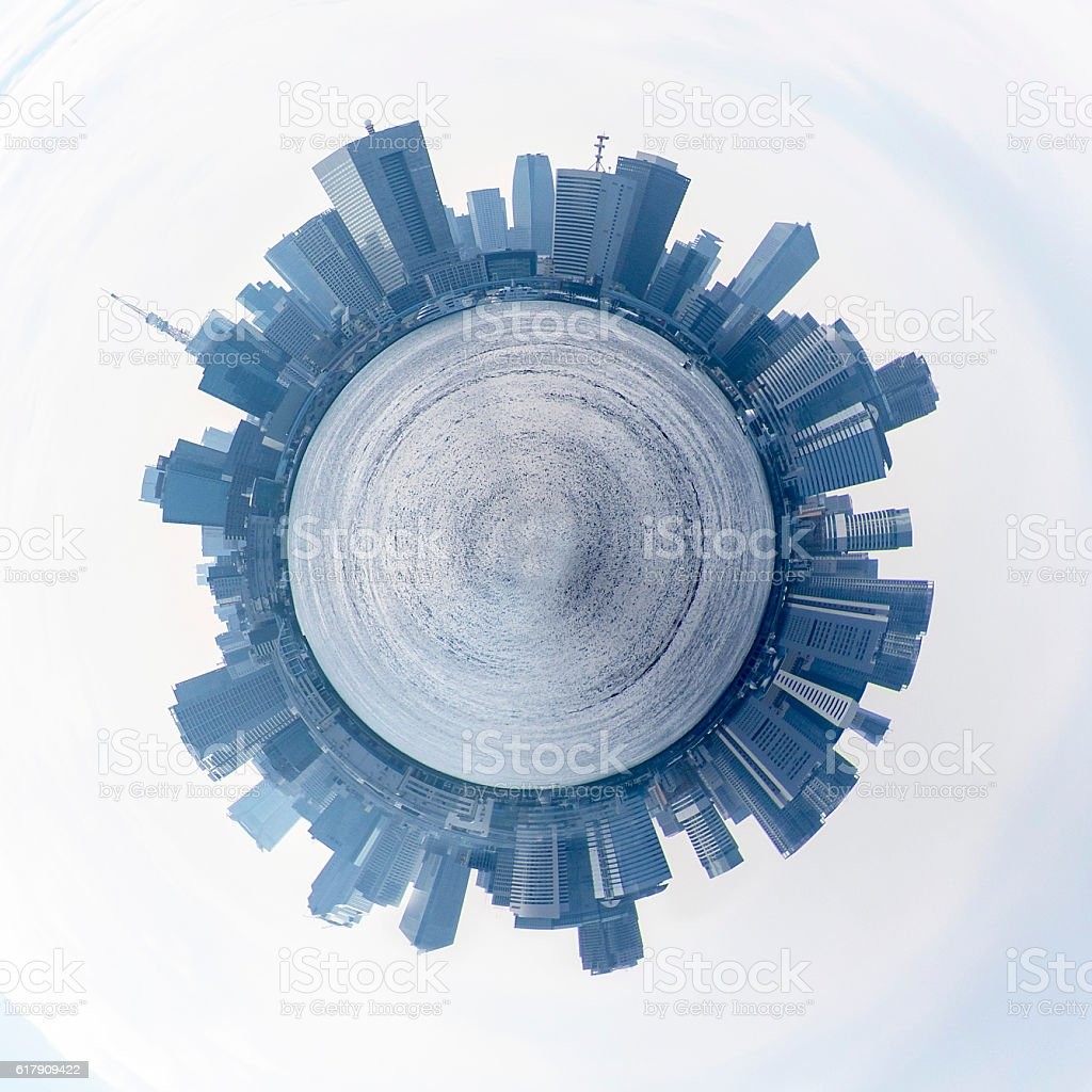 Circle panorama of urban city skyline stock photo