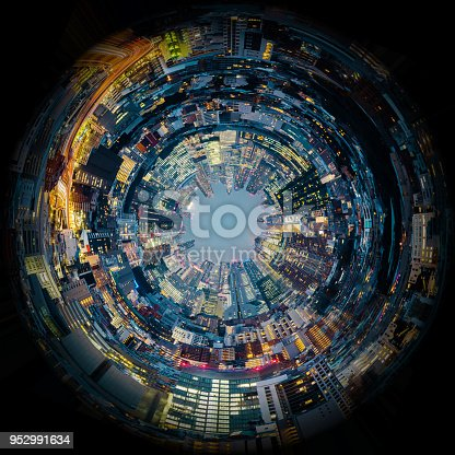 istock Circle panorama of urban city skyline, such as if they were taken with a fish-eye lens 952991634