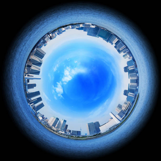 Circle panorama of urban city skyline, such as if they were taken with a fish-eye lens Circle panorama of urban city skyline, such as if they were taken with a fish-eye lens fish eye lens stock pictures, royalty-free photos & images