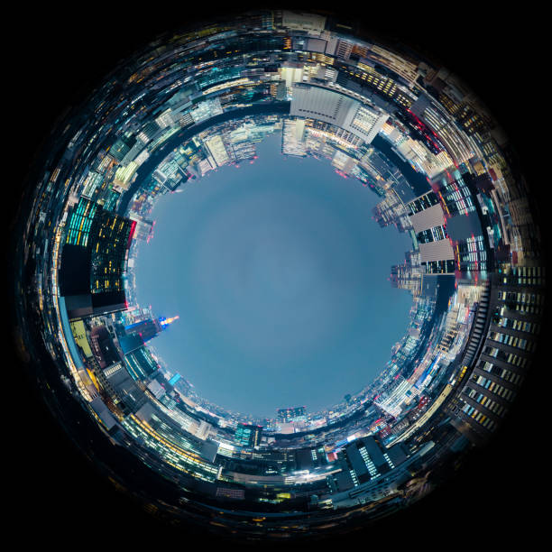 circle panorama of urban city skyline, such as if they were taken with a fish-eye lens - objetiva olho de peixe imagens e fotografias de stock