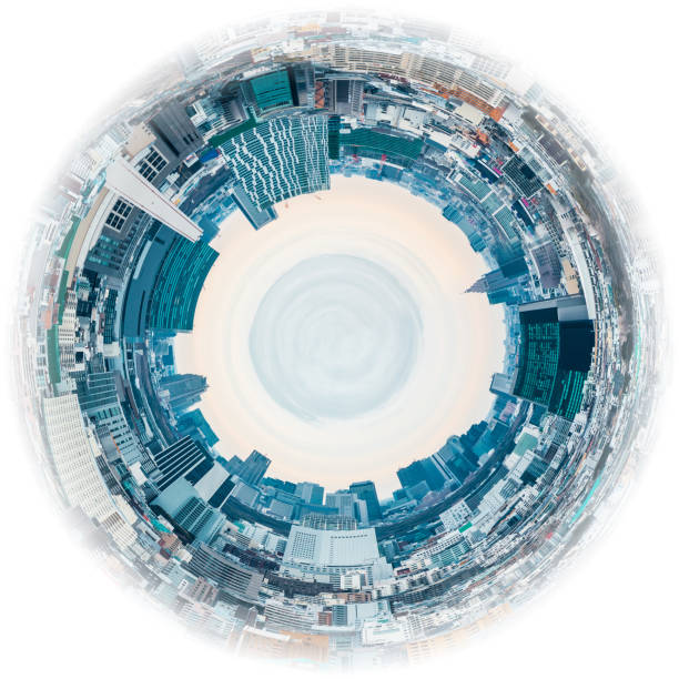 Circle panorama of urban city skyline, such as if they were taken with a fish-eye lens stock photo