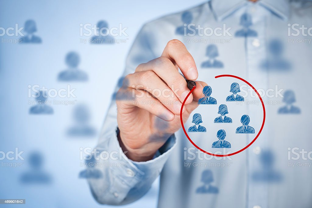 A circle segmented marketing concept stock photo