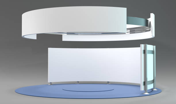 Circle Shape Blank Exhibition Stand stock photo