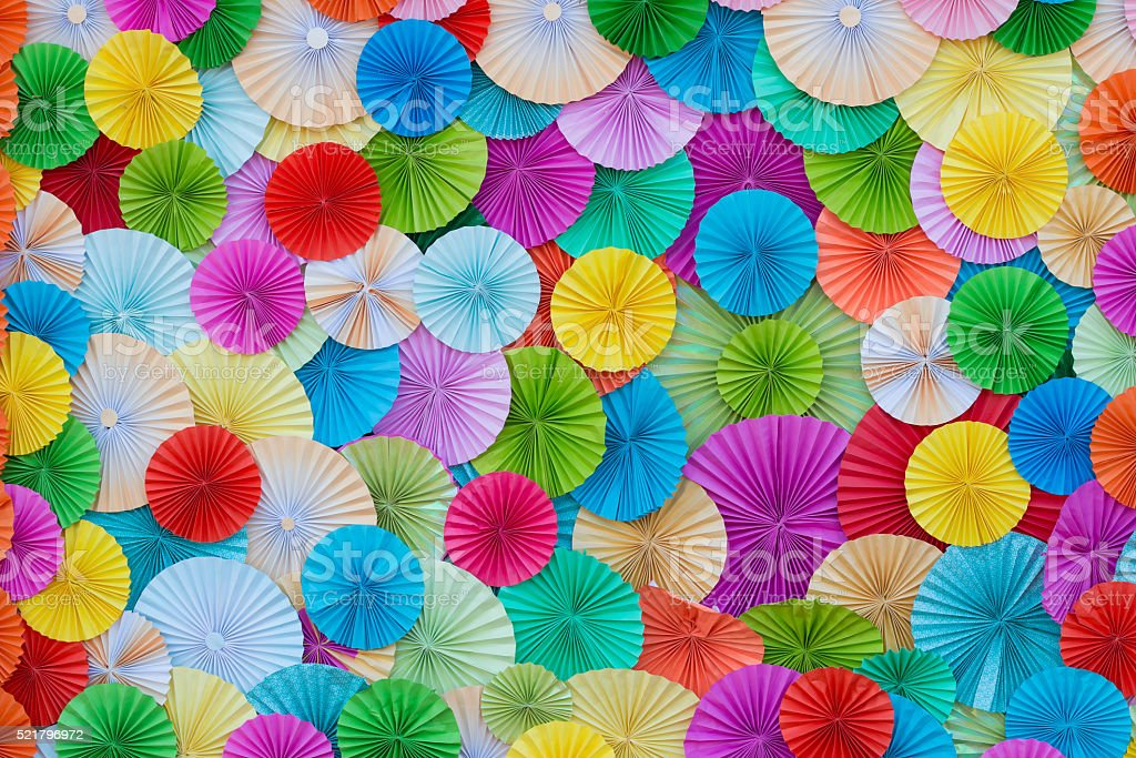 circle shape of origami colors papers. stock photo