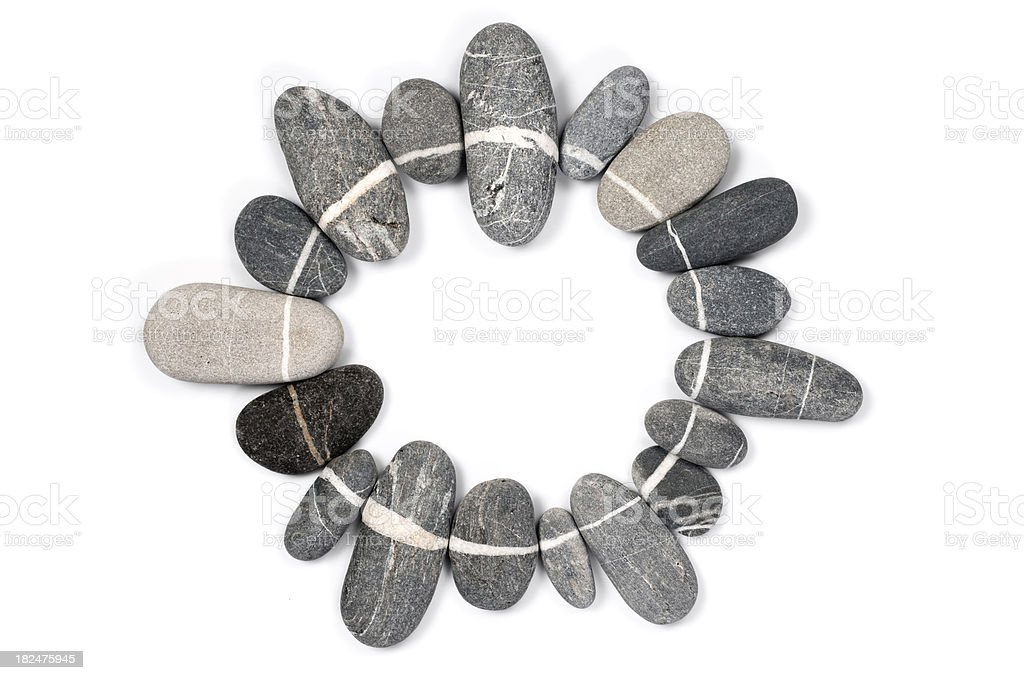 Circle shape stones stock photo