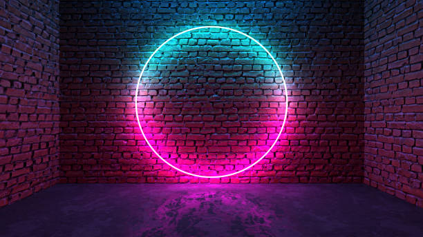 Circle shaped glowing neon frame on brick wall in dark room Circle shaped glowing neon frame on brick wall in dark room. Blue to purple or pink gradient color glow. Sci-fi, cyberpunk and disco concept. 3D illustration. nightclub stock pictures, royalty-free photos & images