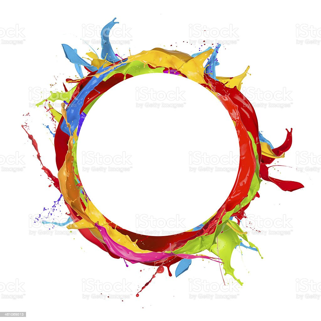 Different Colors Of Paint: A Circle Splashed With Different Colors Of Paint Stock