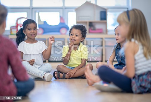 A multi ethnic group of children are sitting on the floor in a circle for circle time in their classroom. They will be singing songs and reading stories with their teacher.