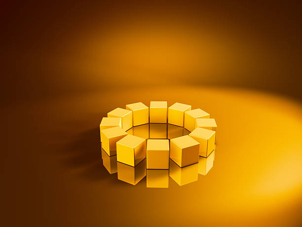 Circle Twelve Golden Cubes 3D Render of a circle made from golden cubes. Very high resolution available! Use it for Your own composings!Related images: golden cube stock pictures, royalty-free photos & images
