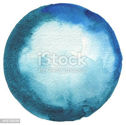 649796262 istock photo Circle watercolor painted background. Paper texture. 648793546