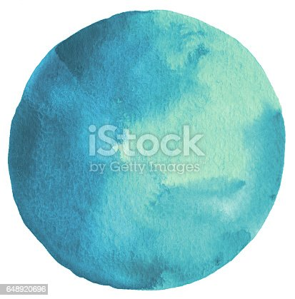 istock Circle watercolor painted background. Paper texture. 648920696