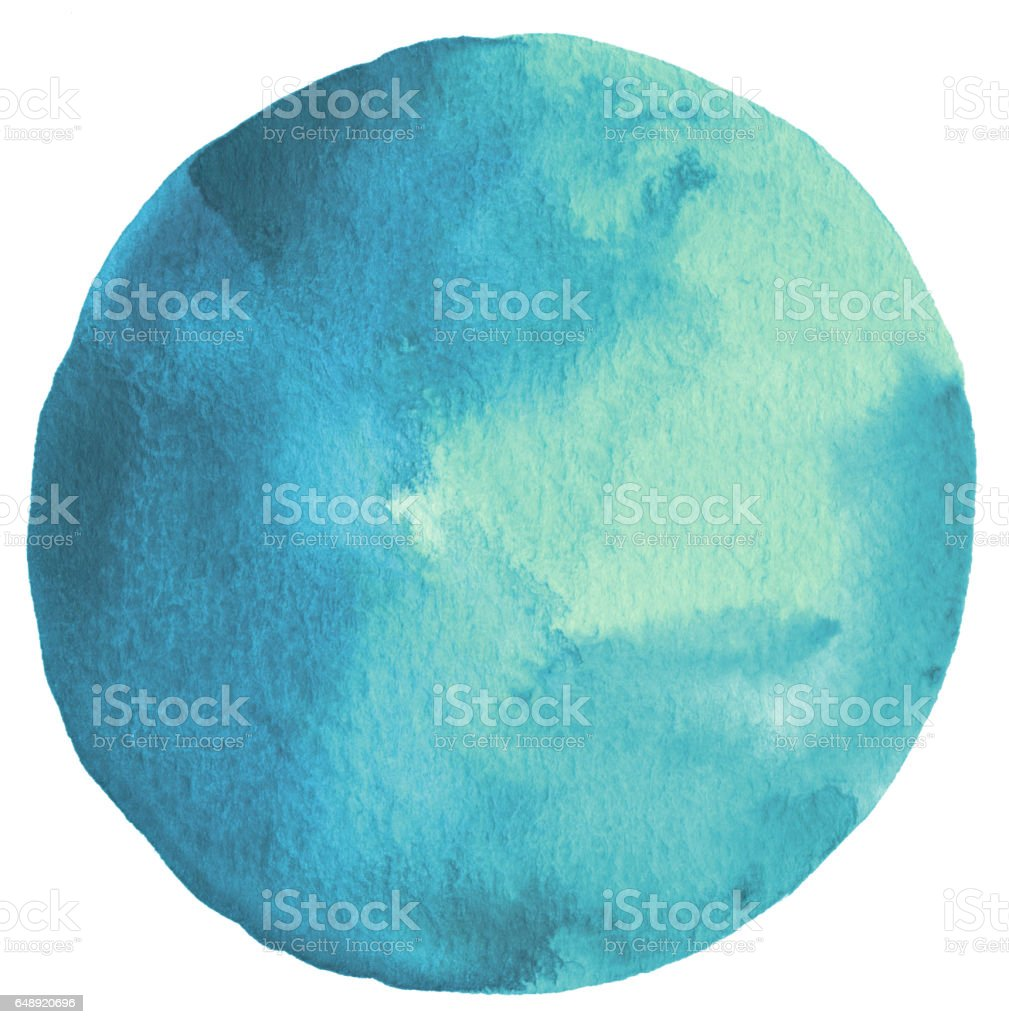 Circle watercolor painted background. Paper texture. stock photo