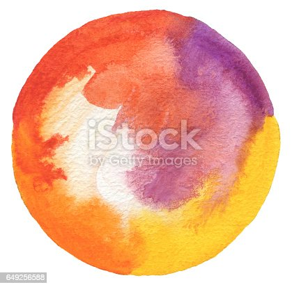 649796262 istock photo Circle watercolor painted background. Paper texture. 649256588