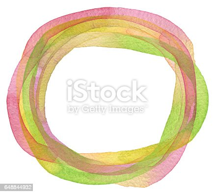 istock Circle watercolor painted background. 648844932
