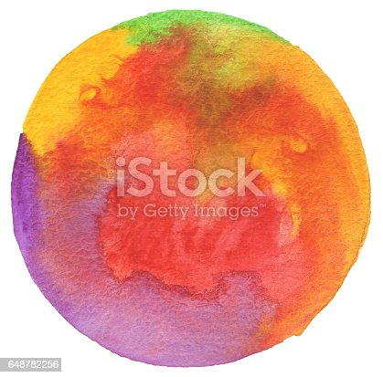 istock Circle watercolor painted background. Texture paper. 648782256