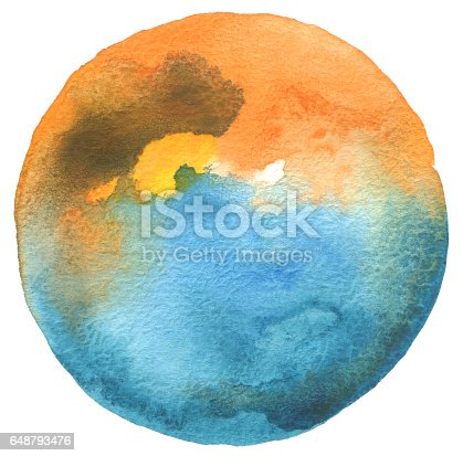 649796262 istock photo Circle watercolor painted background. Texture paper. 648793476