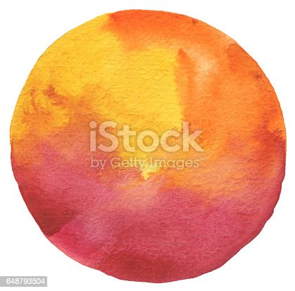 649796262 istock photo Circle watercolor painted background. Texture paper. 648793504