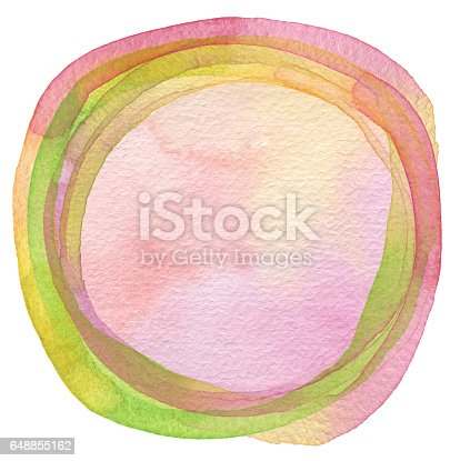 649796262 istock photo Circle watercolor painted background. Texture paper. 648855162