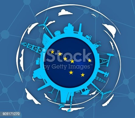istock Circle with industry relative silhouettes 925171270