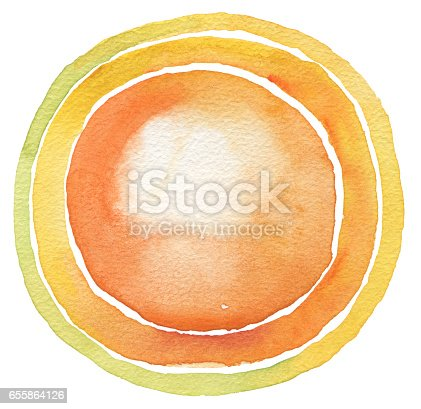 istock Circle yellow watercolor painted button background. Texture paper. Isolated. 655864126