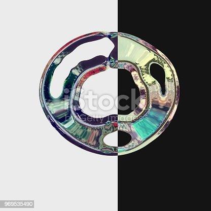 617378218istockphoto Circles of mercury metal liquid on gray and black background. 969535490