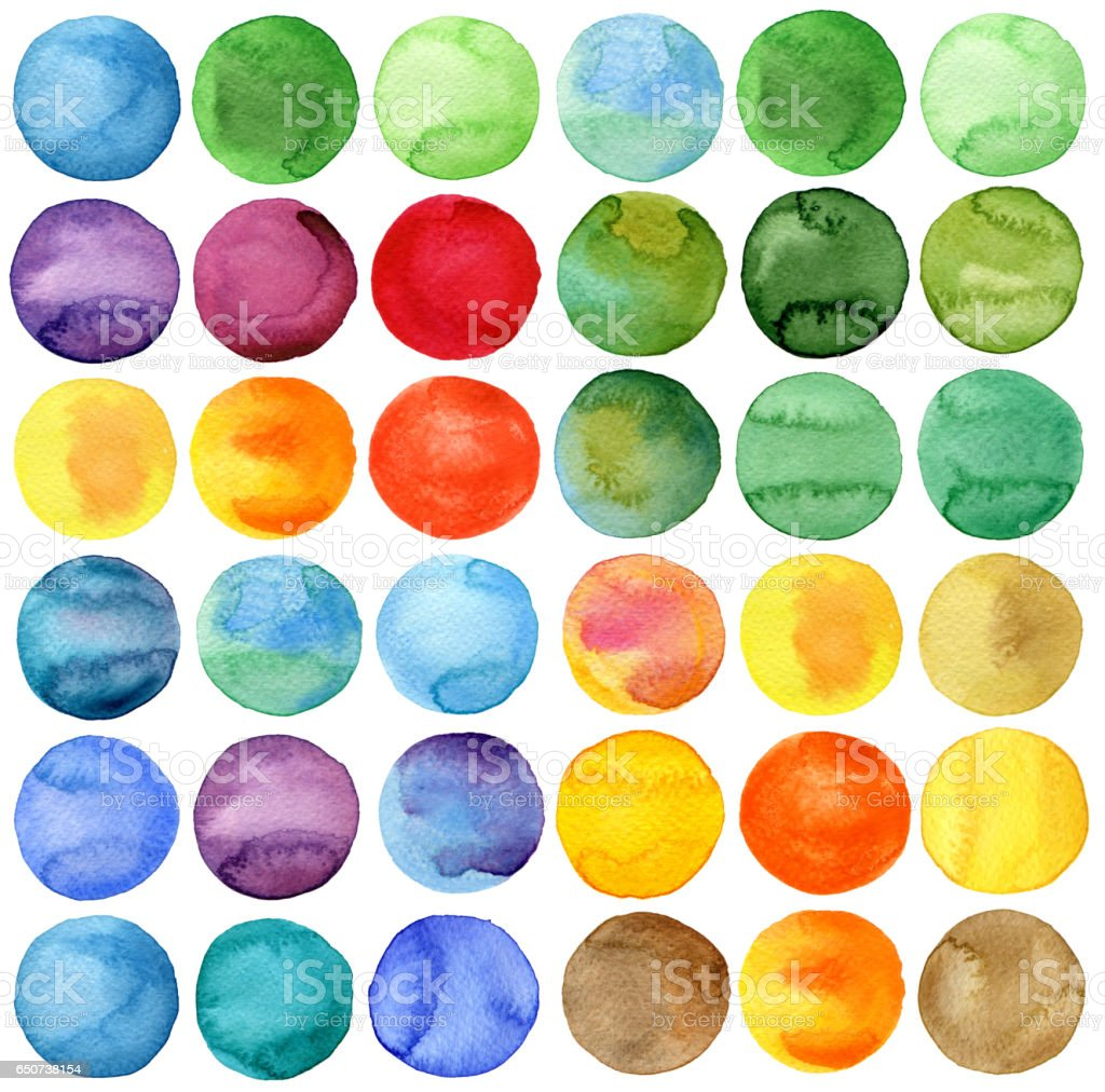 Circles Watercolor hand painted collection stock photo