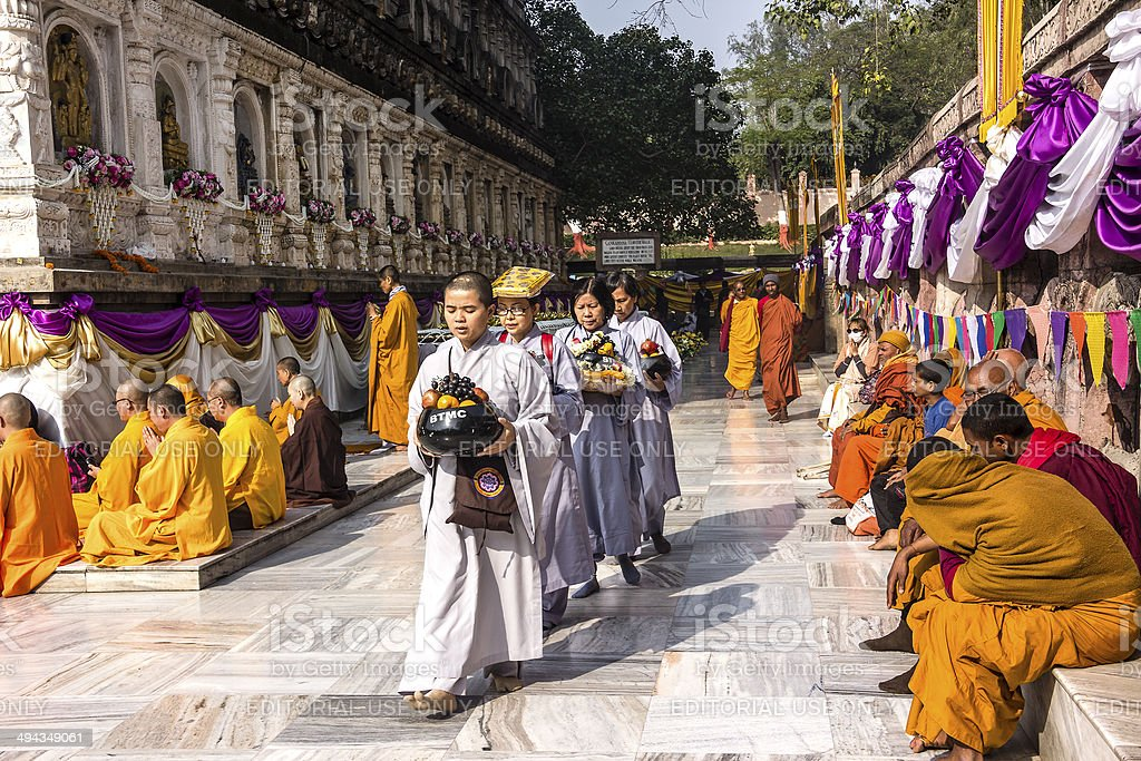 circling mahabodhi temple, India stock photo