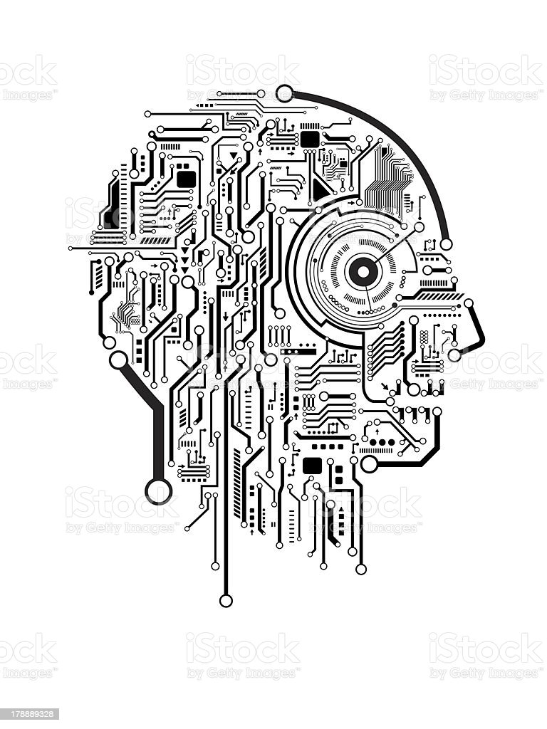 Circuit abstract human head vector background stock photo