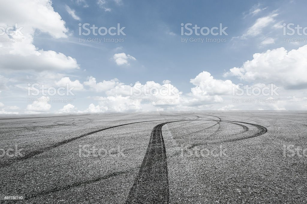 Circuit asphalt road and sky stock photo