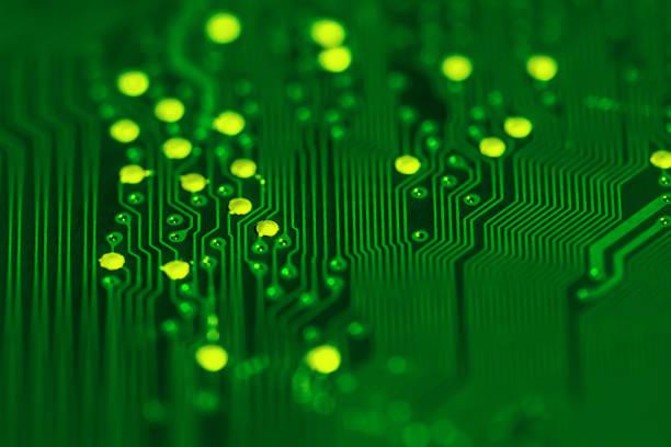 Circuit board background (green) stock photo