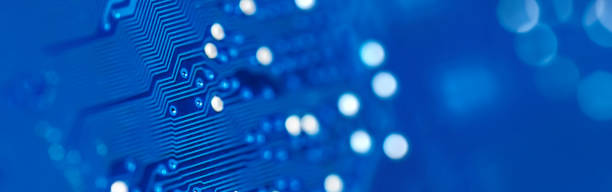 Circuit board background (blue) stock photo