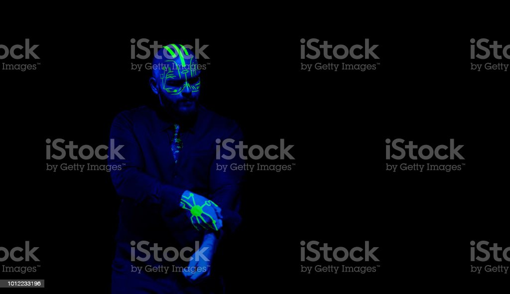 Circuit Board Blacklight Character stock photo