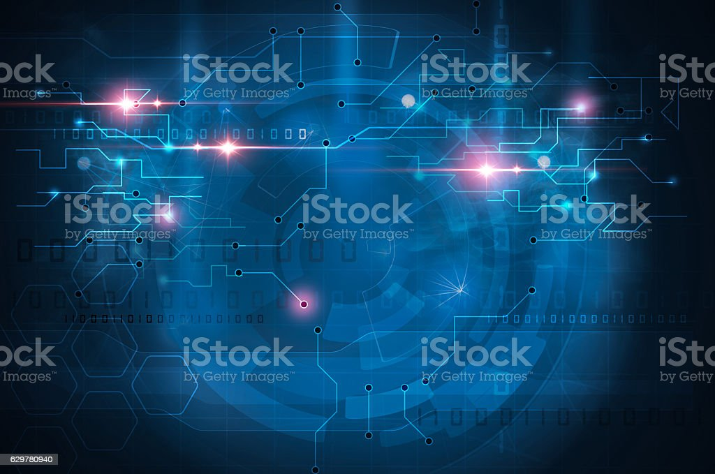 circuit board blue background stock photo