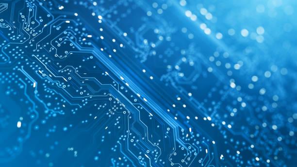 Circuit Board - Blue - Computer, Data, Technology, Artificial Intelligence stock photo