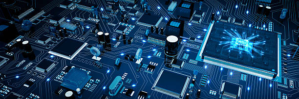 circuit board. blue. - mother board stock photos and pictures