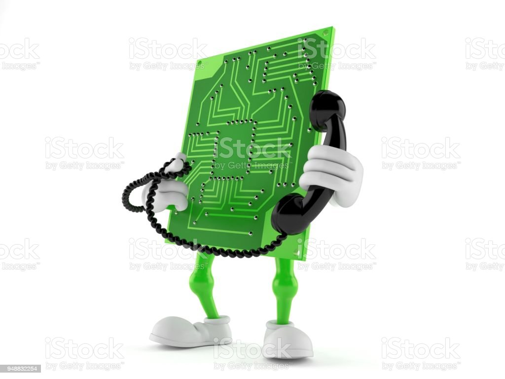 Circuit Board Character Holding A Telephone Handset Stock Photo Circuits Royalty Free