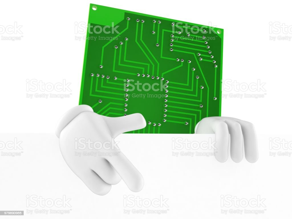 Circuit Board Character Pointing Finger Stock Photo More Pictures Blank Boards Royalty Free