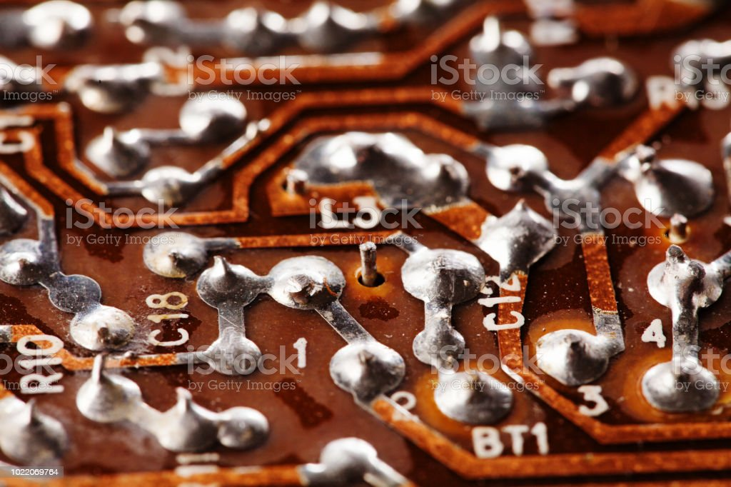 circuit board chip macro view vintage electronic component with