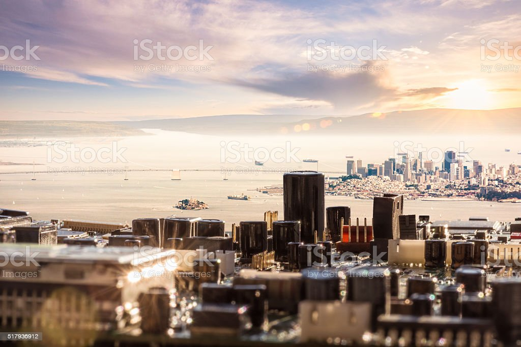 Circuit Board City with San Francisco stock photo