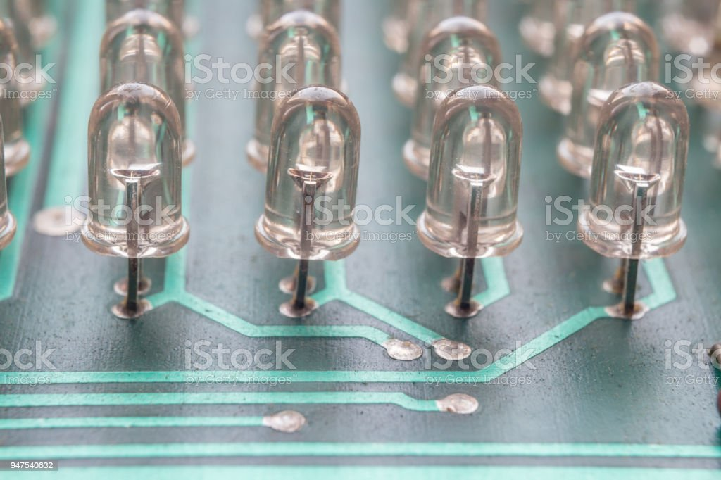 Circuit board diodes stock photo
