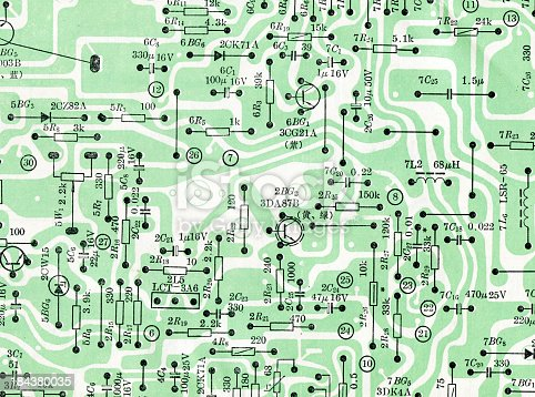 istock Circuit board drawing background textured 184380035
