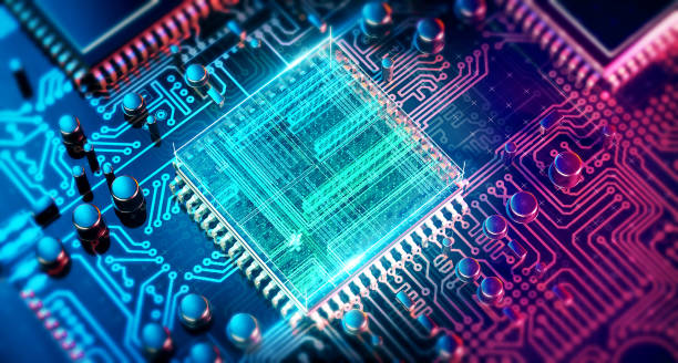 circuit board. electronic computer hardware technology. motherboard digital chip. tech science eda background. integrated communication processor. information cpu engineering 3d background - obwód drukowany zdjęcia i obrazy z banku zdjęć