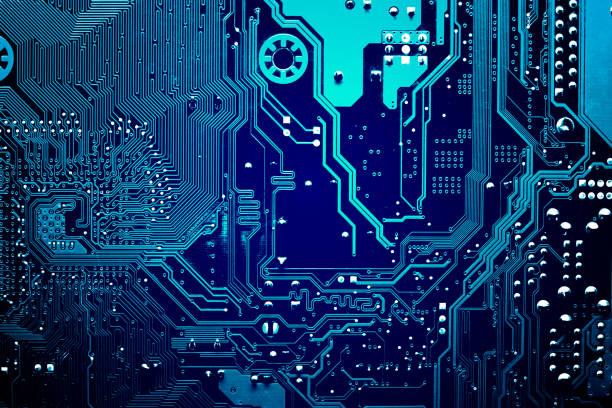 回路基板です。電子計算機ハードウェア技術。マザーボードのデジタル チップ。技術科学の背景。統合通信プロセッサ。情報エンジニア リング コンポーネント。 - 半導体 ストックフォトと画像