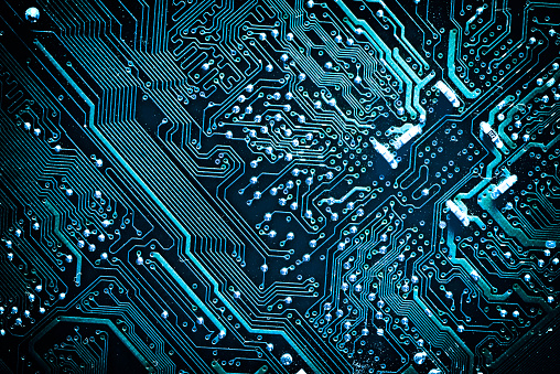 Circuit board. Electronic computer hardware technology. Motherboard digital chip. Tech science background. Integrated communication processor. Information engineering component. Blue color.