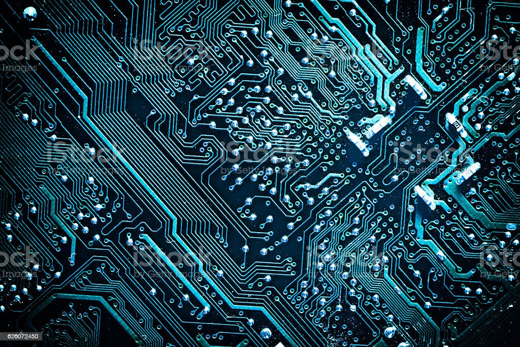 Circuit board. Electronic computer hardware technology. stock photo