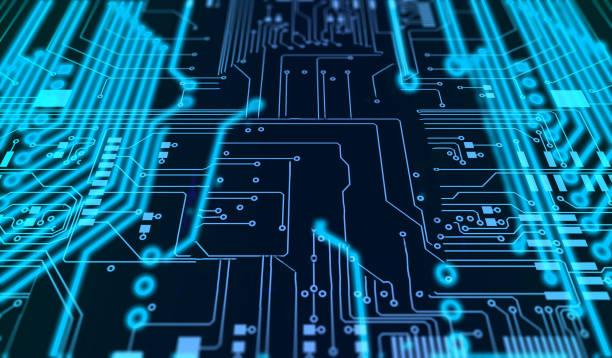 Traitement de carte de circuit imprimé de code futuriste. Technologie bleue sur fond noir - Photo